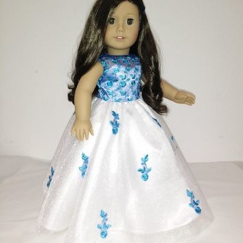 White and Blue Dress Gown for American Girl Doll.