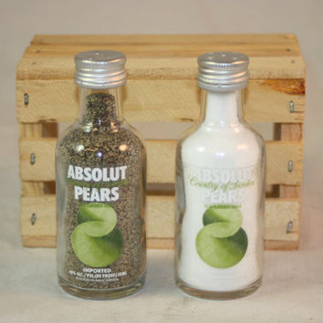 Salt & Pepper Shakers Upcycled from Absolut Pears Glass Mini Liquir Bottles