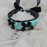 Salome - mint green and black choker starry necklace with bell and leash ring - unisex boy girl lolita neko kitten pet play bdsm collar