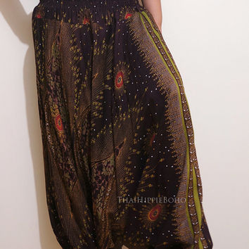 Colorful Peacock's Eye Feather Harem Pants Hippy Hippie / Aladdin Pants/ Genie Pants (Brown)