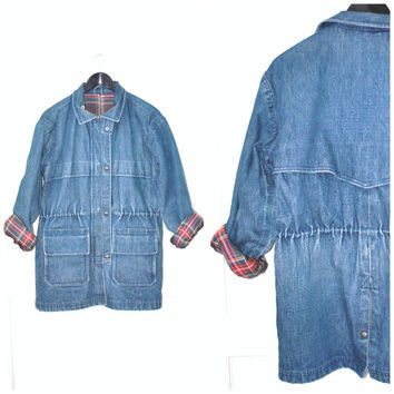 long denim PARKA vintage 1970s 70s unisex PLAID flannel lined CINCHED waist drawstring jean jacket anorak medium