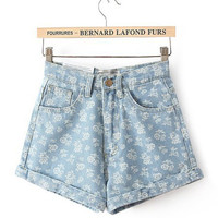Blue Printed High Waist Shorts