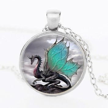 2014 Blue Dragon Necklace Handmade glass dome Jewelry Long art Photo Necklace Charm Fantasy wing Dragon Jewelry CN-344