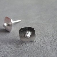 Abstract Studs Sterling Silver Stud Earrings Minimalist Studs Everyday Earrings by SteamyLab