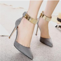 Pointed Low Cut Metal Ankle Wrap Stiletto High Heels