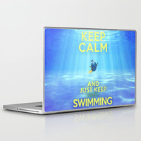 Keep Calm and Just Keep Swimming REDUX  Laptop & iPad Skin by -raminik design- | Society6