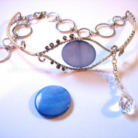 Crying Eye Armlet, Upper Arm Bracelet, Adjustable, Glass Eye with Briolette Teardrop, Blue and Silver