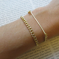Delicate Duo Set - Thin Gold Bar and Layering Chain Bracelets