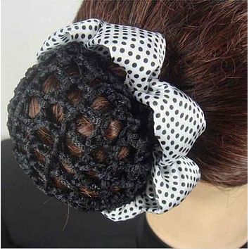 1PC Fashion Girl Women Dot Shiny Bun Cover Snood Ballet Dance Skating Hair Net Crochet Hairband Hair Accessories 2017 Hot Sale