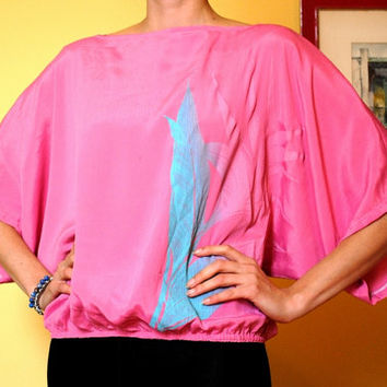 Batwing Shirt 70s Vintage Oversized Top Pink Turquoise Flower Design Stretch Fabric Bat Wing Sleeves