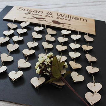 Wedding Guest Book -Unique Wedding Guest Book-Custom Personalized Puzzle Heart Shaped Alternative Hanging Heart Puzzle-3D heart guest book