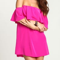 Rose Red Boat Neck Ruffle Loose Dress -SheIn(Sheinside)