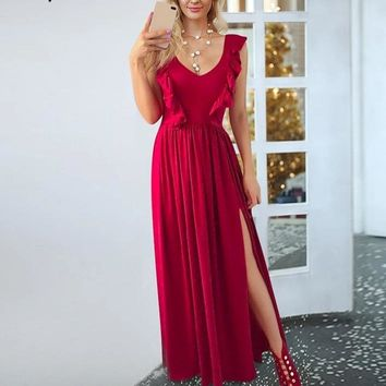 Athena Red Ruffle Dress