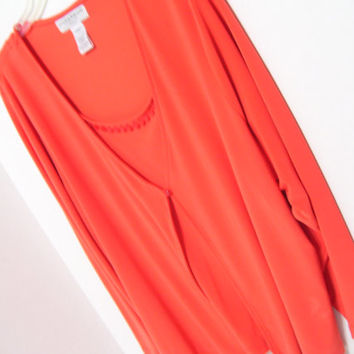 Plus Size Orange Tomato Red Top Blouse with Front Overlay Look of Two Pieces Stretch Travel Perfect