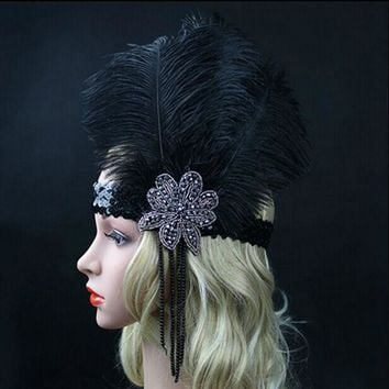 ONETOW Black Ostrich Rhinestone Feather Headpiece Vintage Party Wedding Headband Flapper 1920s Great Gatsby Hot Hair Band WLL9099