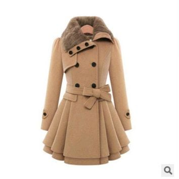 ac DCK83Q Women's Fashion Slim Double Breasted Thicken Jacket [9126622412]