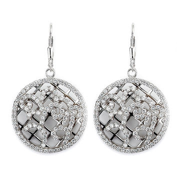 Ornate Design Leverback Disc Drop Earrings
