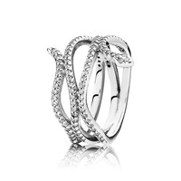 Swirling Snake Ring, Clear CZ