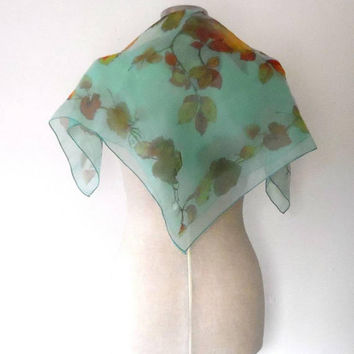 Aqua blue maple leaf scarf / branches / brown / rust / orange / green / shimmer / sheer / vintage / gift / autumnal / small square scarf
