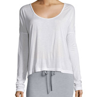 Long-Sleeve Jersey Scoop-Neck Tee, White, Size: