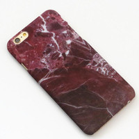 Wine Red Hard Marble Texture iPhone 7 7Plus & iPhone 6 6s Plus & iPhone X 8 Plus Case +Gift Box