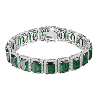 Green Ruby CZ Bracelet Silver Tone Iced Out Hip Hop 15mm Rick Ross Bling Mens