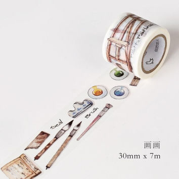 JG109 3CM Wide Painting Supply Washi Tape DIY Scrapbooking Sticker Label Masking Tape School Office Supply