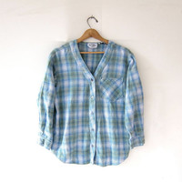 Vintage Tomboy Flannel / Grunge Shirt / Button Up Flannel Jersey / Vneck Flannel