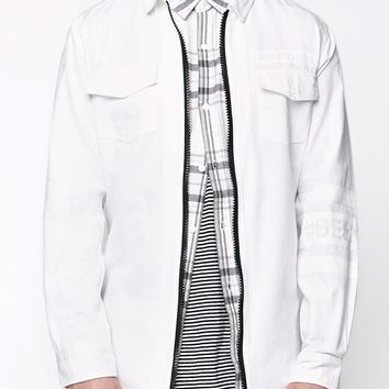 Been Trill Zip Long Sleeve Woven Shirt - Mens Shirt - White
