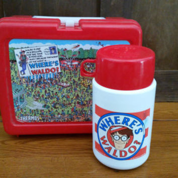 Vintage Red Plastic Where's Waldo Lunch Box and Thermos