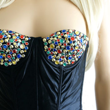 Studded Bustier Studded Bra Rhinestone Studded Bustier Top Studded Bustier Bra Studded Top Vintage Bustier Top Black Bustier Crop Top xs s