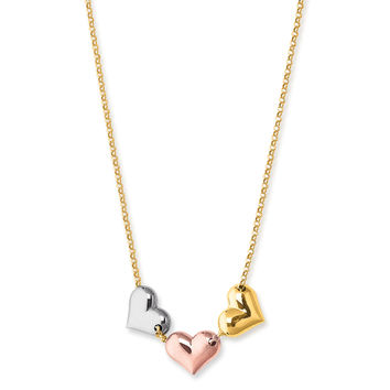 "14K Tri Color Gold Puffy Hearts Charms On 17"" Necklace"