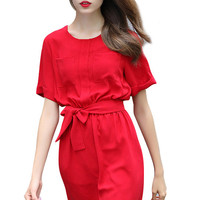 Red Elegant Exquisite Sash Short Sleeve Mini Dress