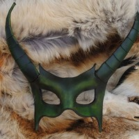 Emerald Demon Leather Mask
