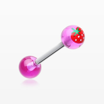 Strawberry Acrylic Top Barbell Tongue Ring