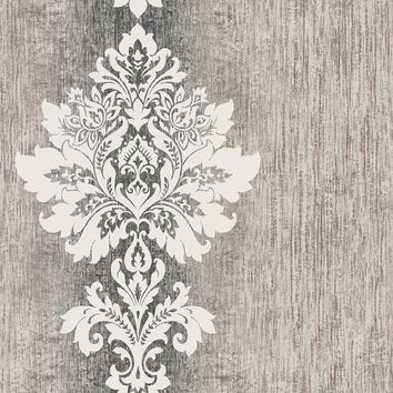 Brewster Wallpaper RW41402 Mazzy Slate Damask Stripe