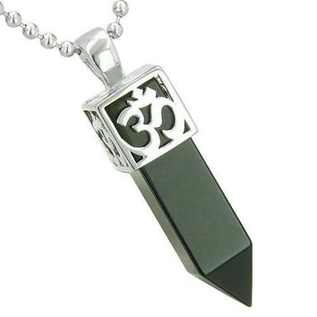 Positive Energy Ancient OM Amulet Magic Powers Crystal Point Lucky Charm Onyx Pendant Necklace