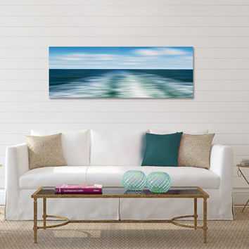 Beach Decor Large Wall Art Canvas Gallery Wrap Ocean Sea Photography Nantucket Ferry Photo Blue Teal Green White Abstract Nautical Art