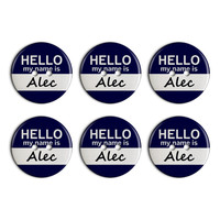 Alec Hello My Name Is Plastic Resin Button Set of 6