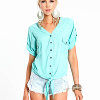 Lace Up Tie Front Blouse