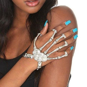 Girl Silver Talon Skeleton Hand Finger Bone Bracelet Ring Gothic Skull Bangle US