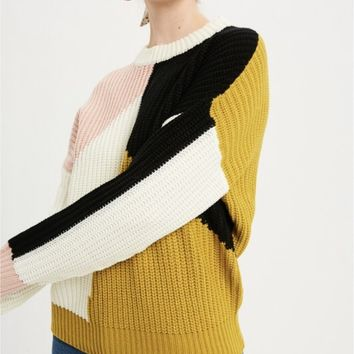 Chartreuse Color Block Sweater