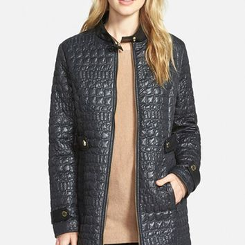 Women's Via Spiga Faux Leather Trim Stand Collar Quilted Coat,