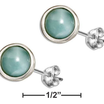 STERLING SILVER 8MM ROUND LARIMAR EARRINGS