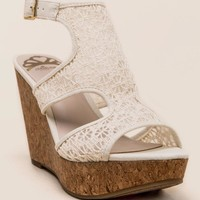 Fergalicious Kendra Crochet Cork Wedge