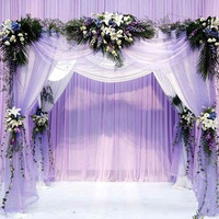 2015 0.75*10M Wedding Decoration Organza Silk Flower Heart-shaped Arches Sheer Crystal Organza Fabric Flower Door 6Z-HD048 = 1932843460