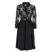Retail Women Vintage 1950s Style 3/4 Sleeve Black Lace Flare A-line Dress Summer Maxi Dresses Vestido