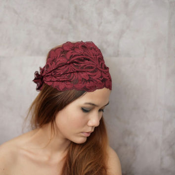 Burgundy Red  Stretchy Lace Headband with Cute Bow/ by Rumraisina