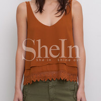 Brown Spaghetti Strap Backless Top with Lace Accent