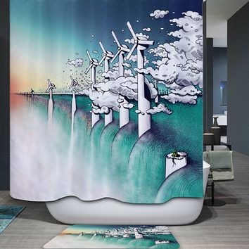 Homing Summer Coastal ocean Beach Scenery 3D Polyester Waterproof Shower Curtain Warmth Cozy Mildew Resistant Bath Room Curtain